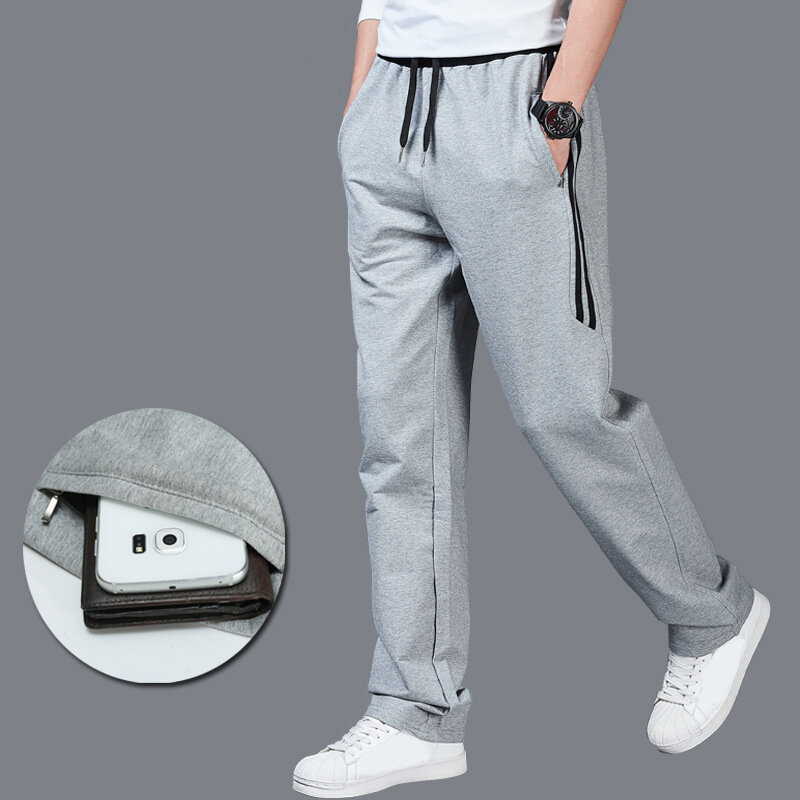 Men's Slim Solid Color Casual Sports Pants Large Size Gym Running Sweatpants