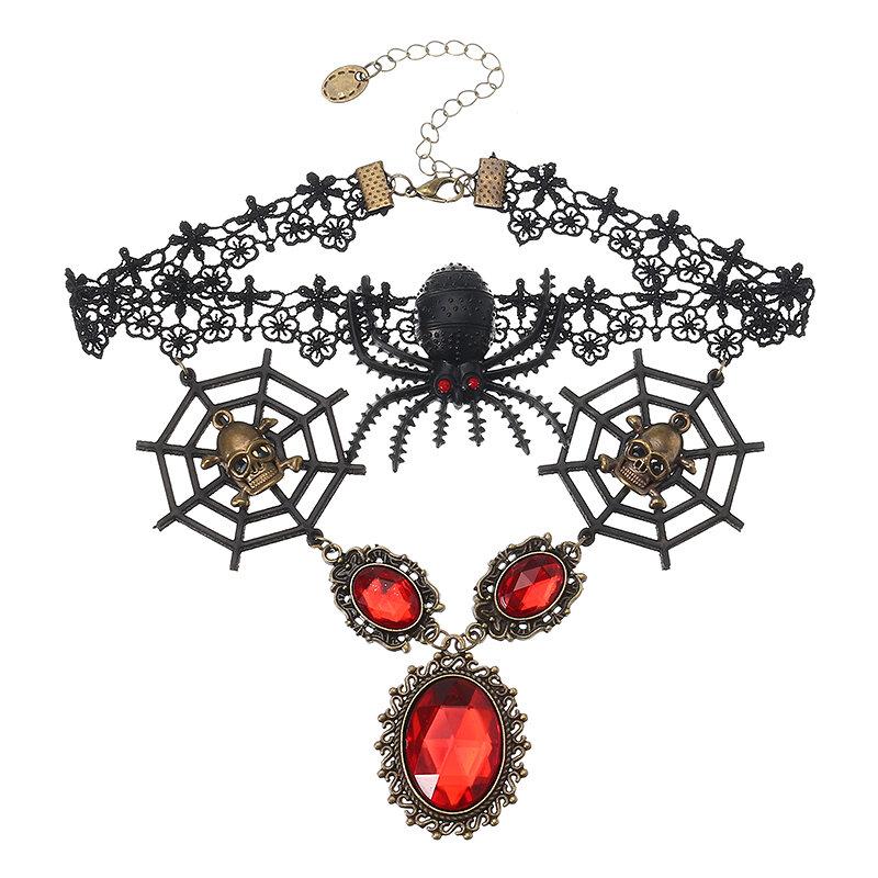 Винтаж Lace Череп Head Choker Crystal Spider Web Necklace Halloween Party Accessories