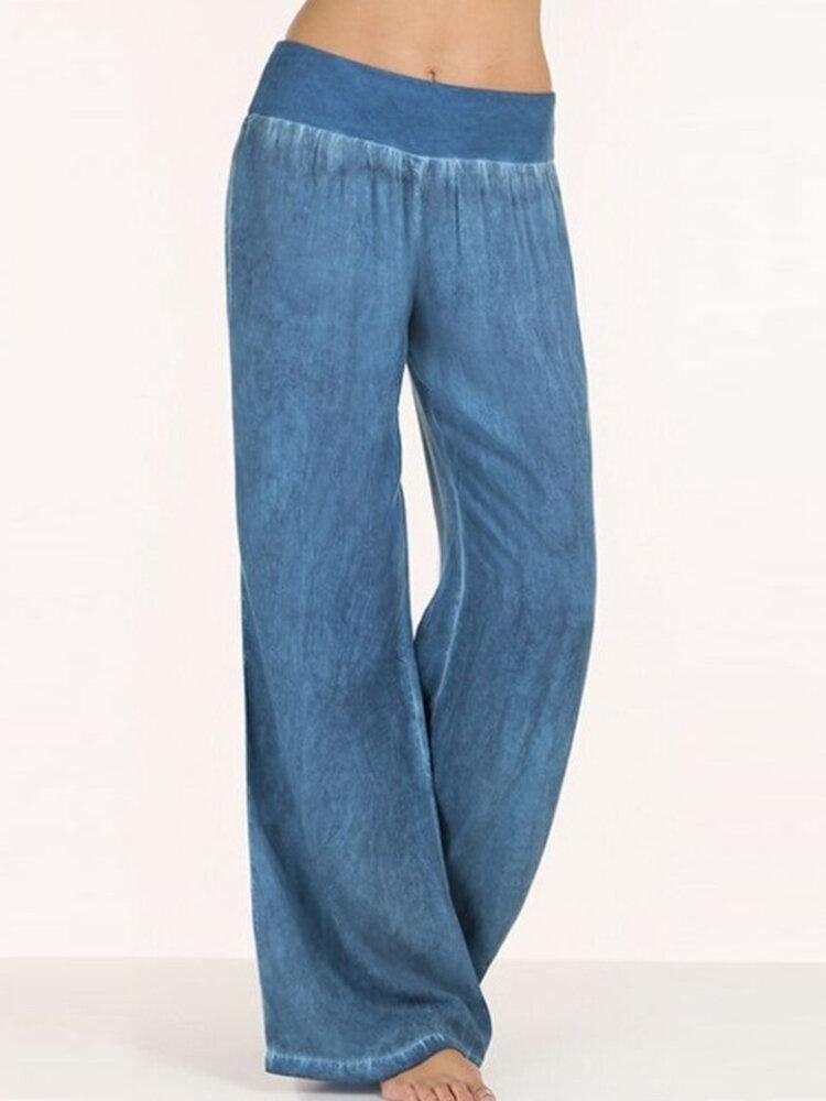 S-5XL Женское Повседневные брюки с широкими штанинами и эластичной талией Брюки