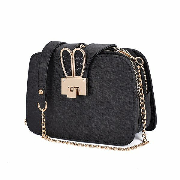 Women Chain Twist Lock Frame Shoulderbags Girls Anti Thieft Crossbody Bags