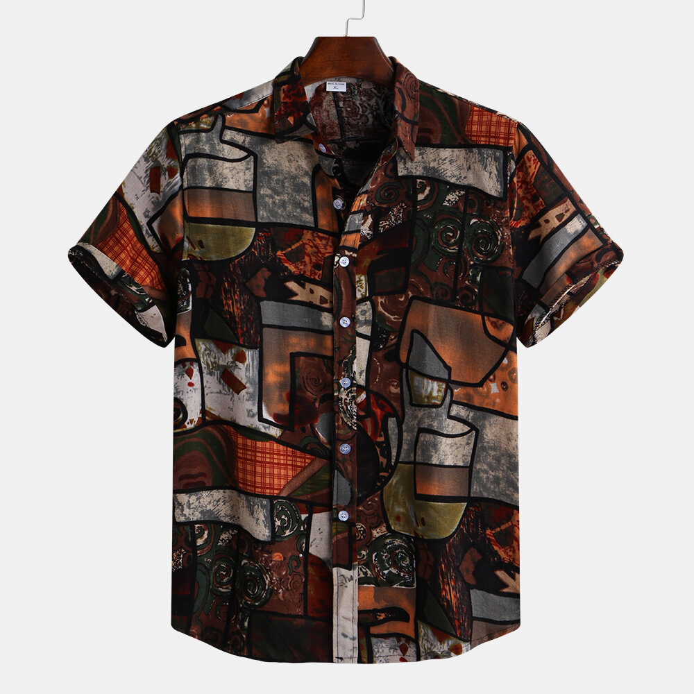 Mens Vintage Casual Loose Summer Splicing Pattern Printed Shirts