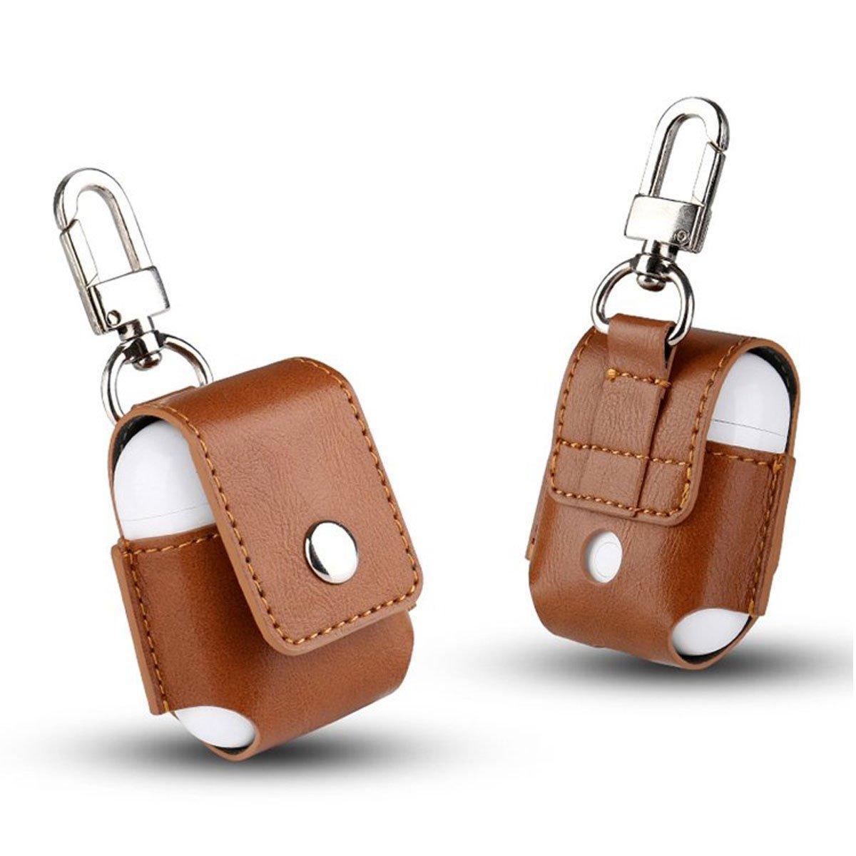 Echtes Leder Shockproof Schutzhülle mit Schnalle für Apple AirPods