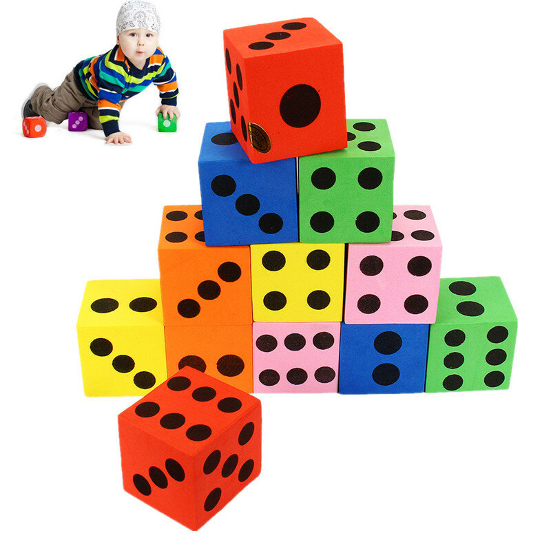 12Pcs Grandes Jumbo Colorful Foam Dice Kids Baby Educational Play Toy Puzzle Game