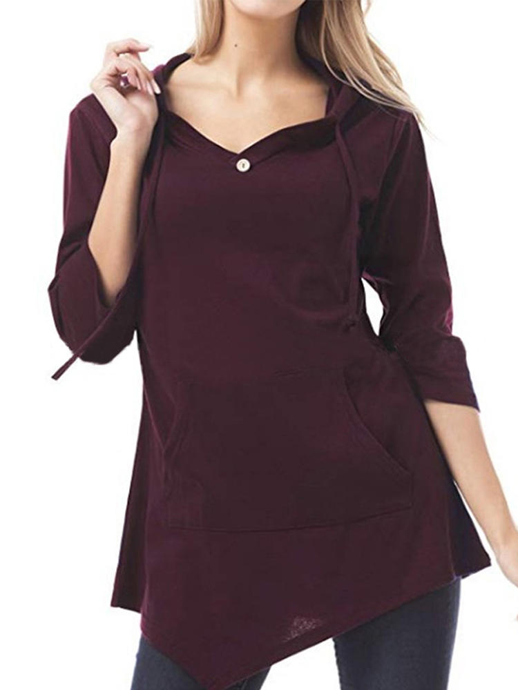 Women Big Pocket Pure Color Hooded Irregular Hem Blouse