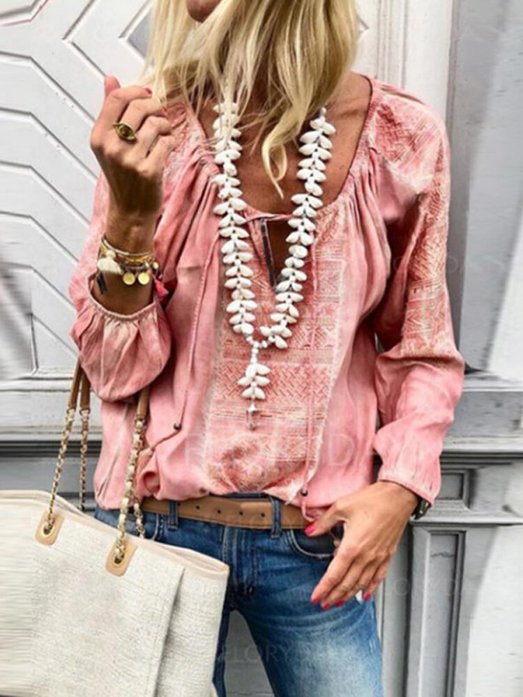 Lace Up V-neck Long Sleeve Casual Blouse