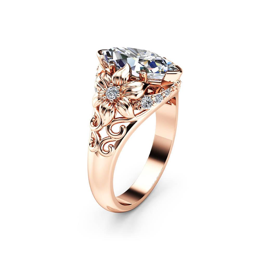 Elegant Luxury Flower Ring Rose Gold Zircon Diamond Women Ring