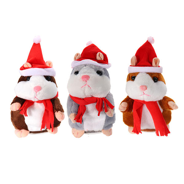 18 CM Lovely Talking Hamster Christmas Pluszowa zabawka Mów Mówiąc Sound Record Hamster Talking Toys