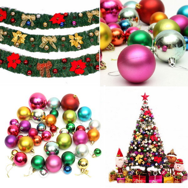 36pcs Mixed Kerstmis Bubble Ball Kerstboom Opknoping Ornament Party Home Decoration