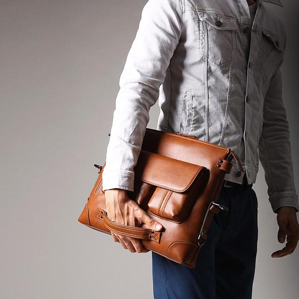 Ekphero Homens Casual Briefcase Bolsa Multifunções Ombro Bolsa Mochila