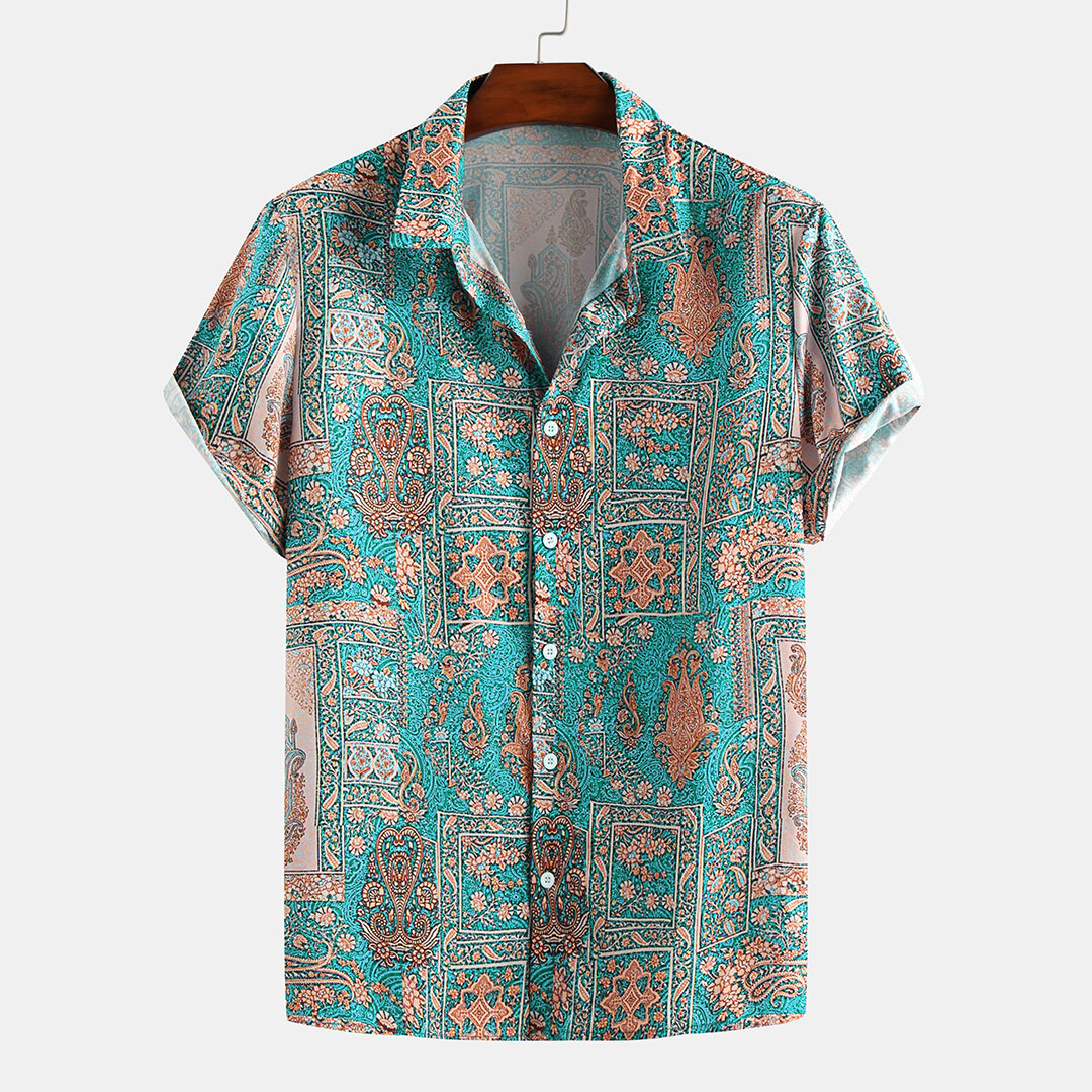 Mens Colorful Pattern Printed Summer Turn Down Collar Casual Shirts