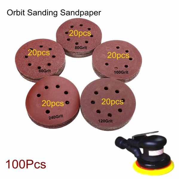 100pcs 125 millimetri 8 fori dischi sabbia abrasiva grana 60-240 levigatura carte