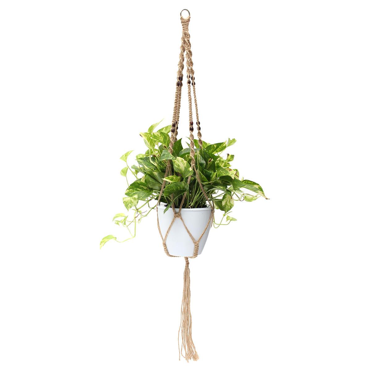 48 '' 4 Jambières Macrame Plant Hanger Holder Hanging Planter Basket Jute Rope Beads