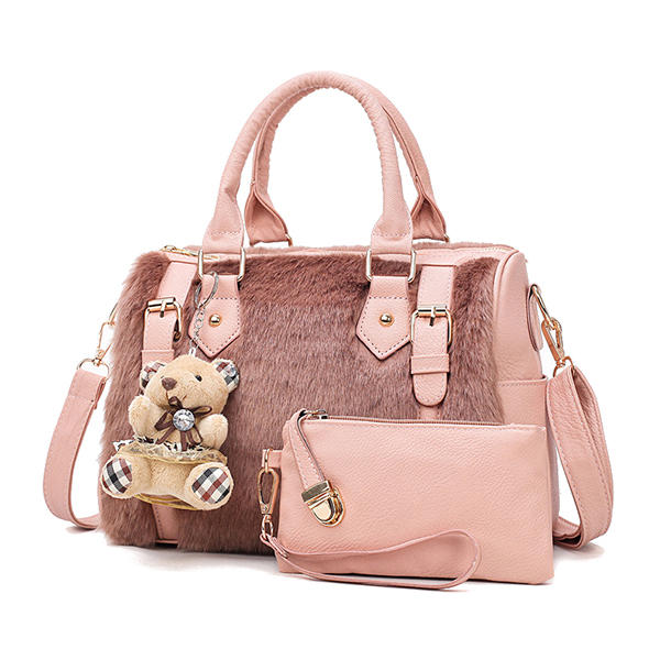 Women Two-piece Set Faux Leather Plush Designer Handbag Shoulder Bag Clutch Bag