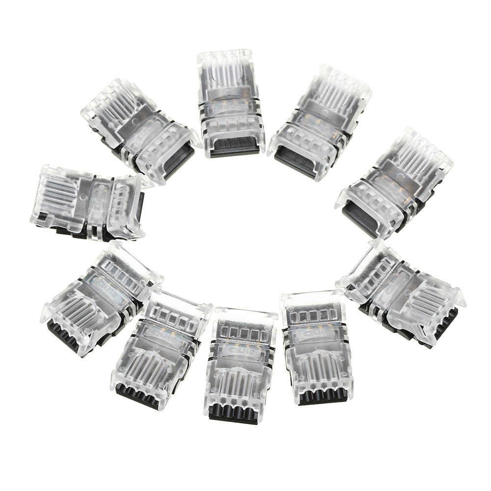 10PCS 4Pin 10mm No Weld Board to Wire Connector Terminal for IP20 RGB LED Strip Light