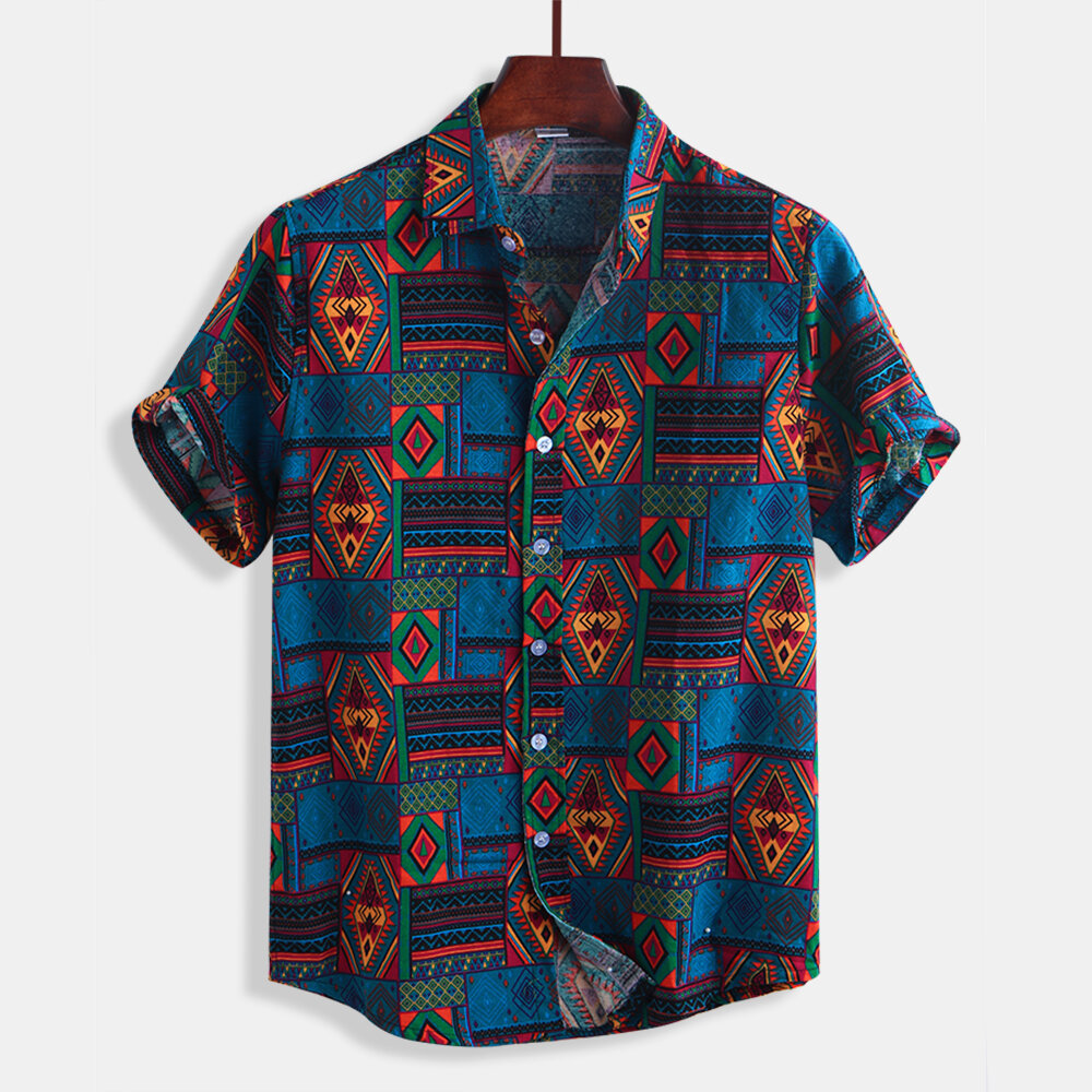 Męskie lato Colorful Plaid Printing Buttons Fly Short Sleeve Casual Shirts