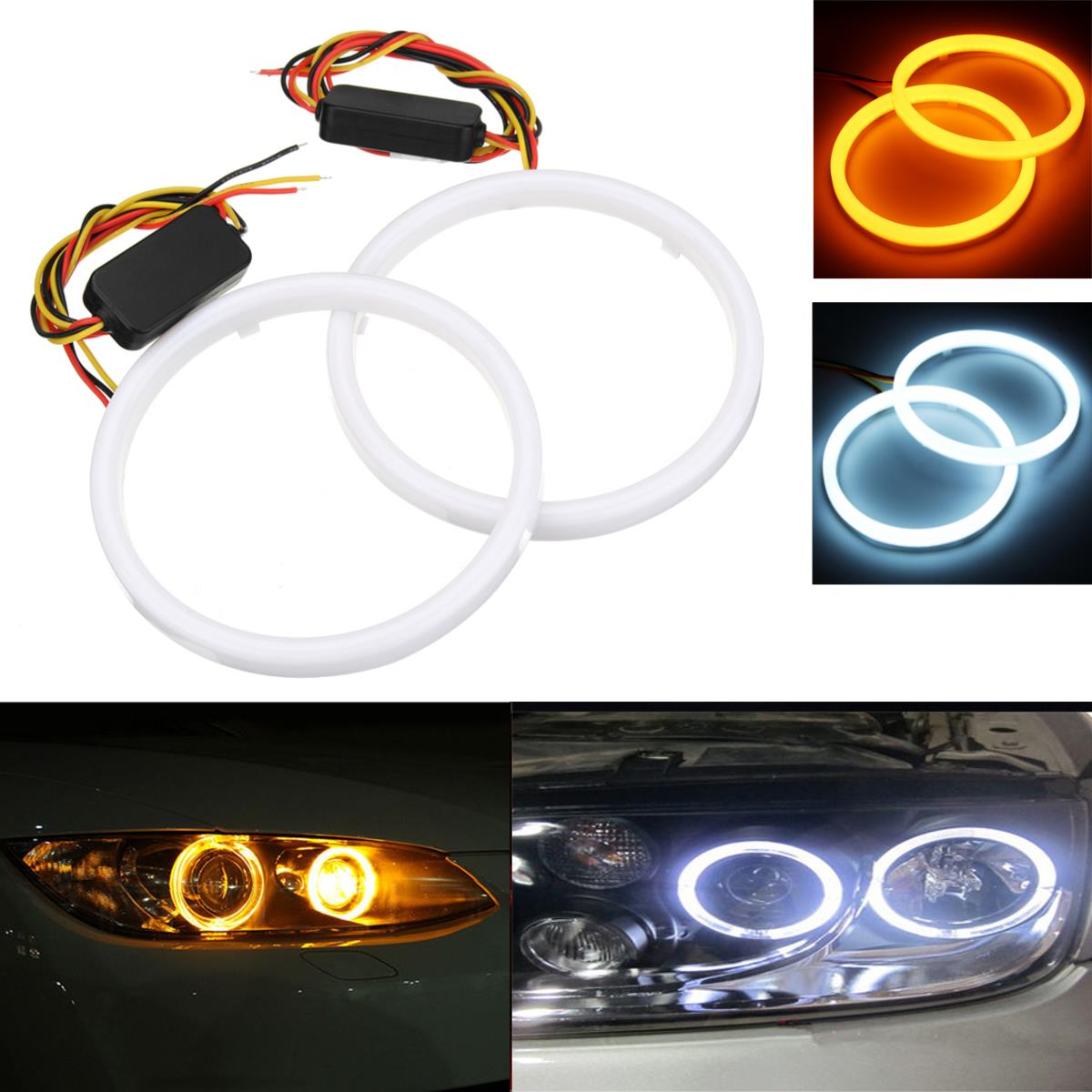 Coppia 60/70/80/90/100 / 110mm 2835 LED Angel Eyes Lights Halo Ring DRL Indicatore di direzione