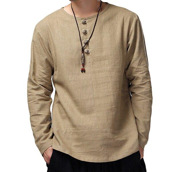 Charmkpr T-shirt da uomo in cotone a maniche lunghe e larghe traspiranti T-shirt antibatteriche vintage