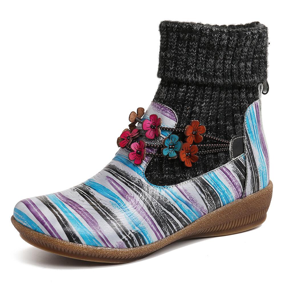 SOCOFY Kadın Colorful Çizgili Hakiki Deri Ekleme Çiçekler Ayak bileği Botlar
