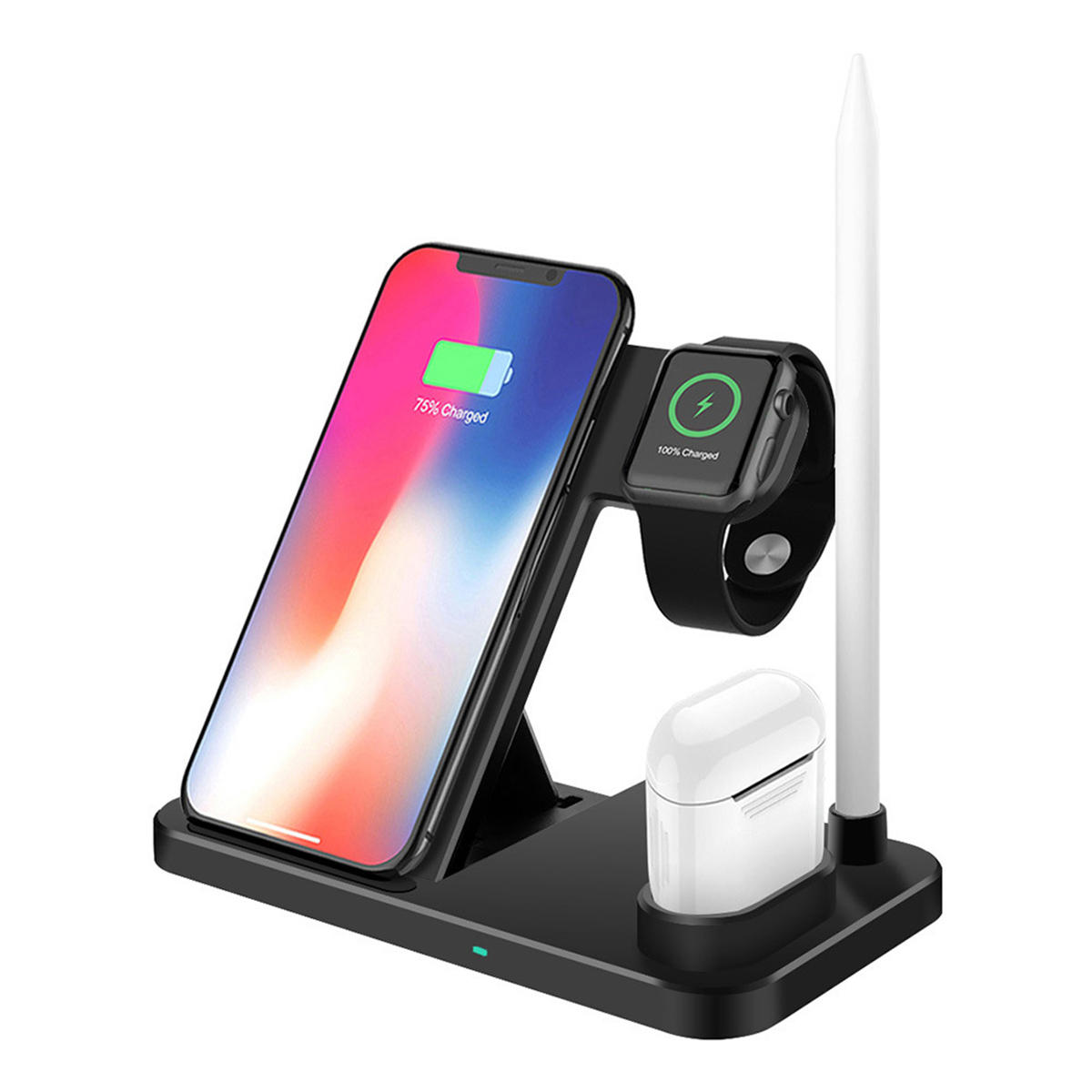 10W 4-in-1 Qi Fast شحن Wireless شاحن Pad for ذكي هاتف iهاتف Samsung Apple Watch Series Apple AirPods Apple Pencil