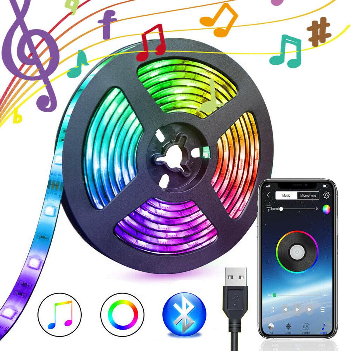5V USB Power bluetooth Music Remote APP LED Strip Light 5050 RGB TV Backlight Decoration