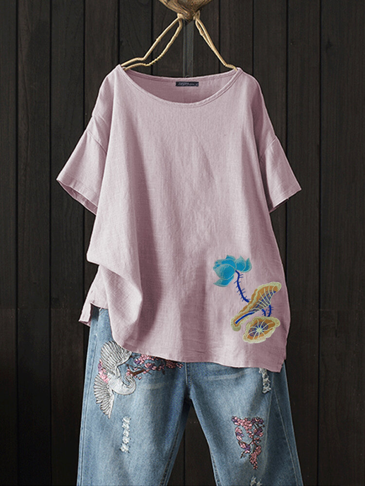 Embroidery Floral O-neck Short Sleeve Vintage Blouse
