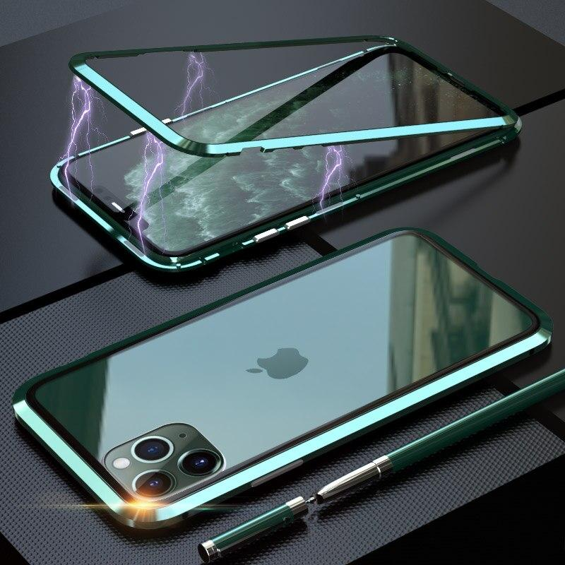 Bakeey Luxury Magnetic Adsorption Metal Back Tempered Glass Protective Case for iPhone 11 Pro 5.8 inch