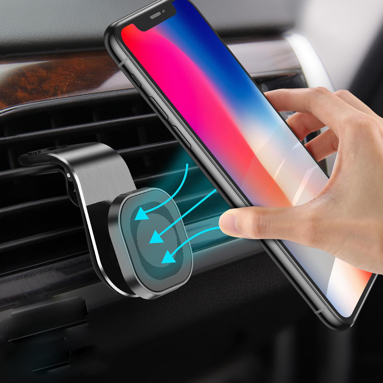 USLION Suporte de telefone para carro com ventilação magnética e adsorção de ar Suporte para carro Rotação de 360º para 3,5-7,0 polegadas Telefone inteligente para iPhone 11 para Samsung Nota 10 Xiaomi Mi 9