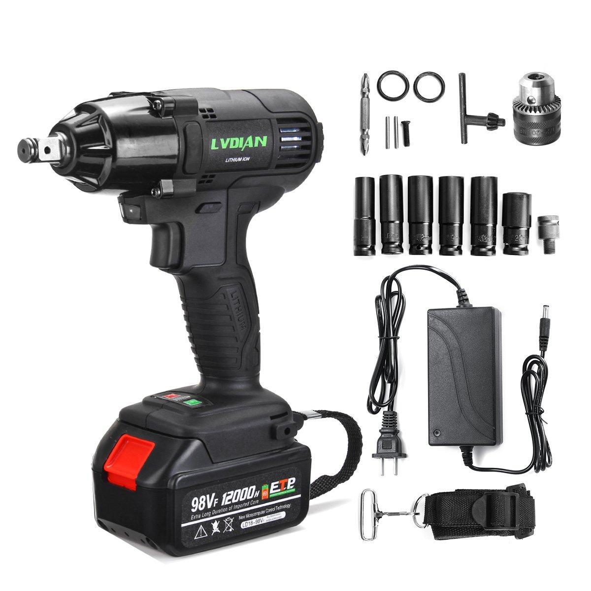98VF 12000mAh 320NM Electric Cordless Impact Wrench Drill Screwdriver Set Power Repair Tools Kit