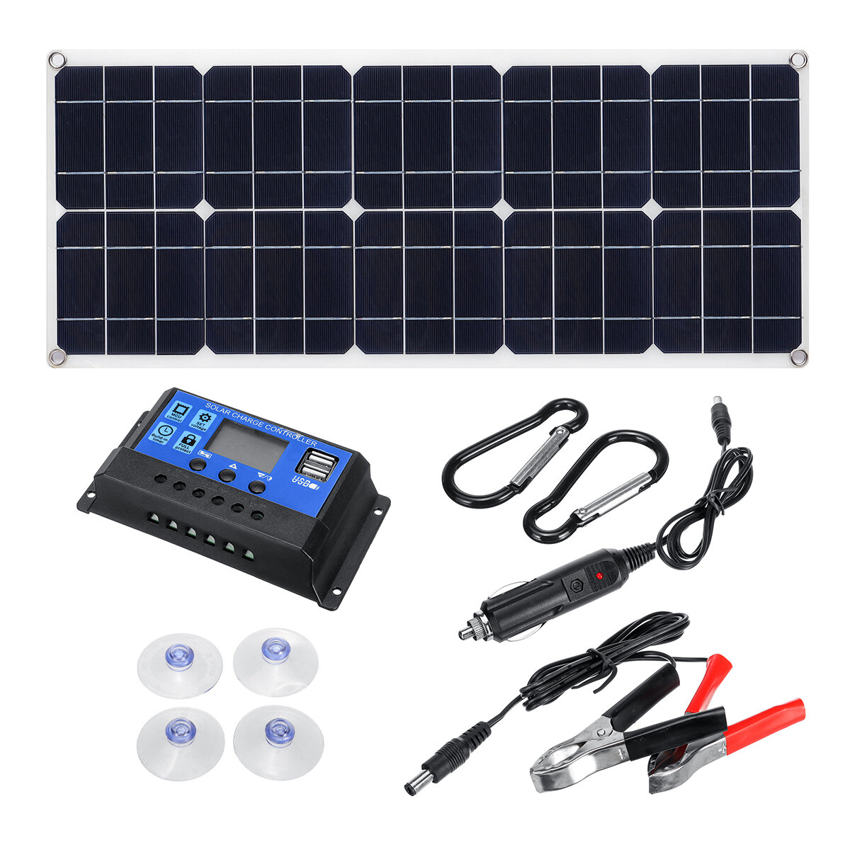 100W 18V MonocrystalineSolar Panel Dual 12V / 5V DC USB Charger Kit with 10A Solar Controller & Cables