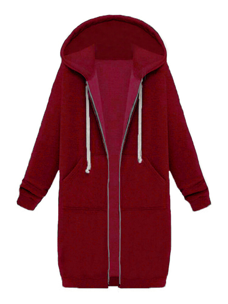 9 Couleurs Casual Femmes Poches à manches longues Zip Up Hooded Sweatshirt
