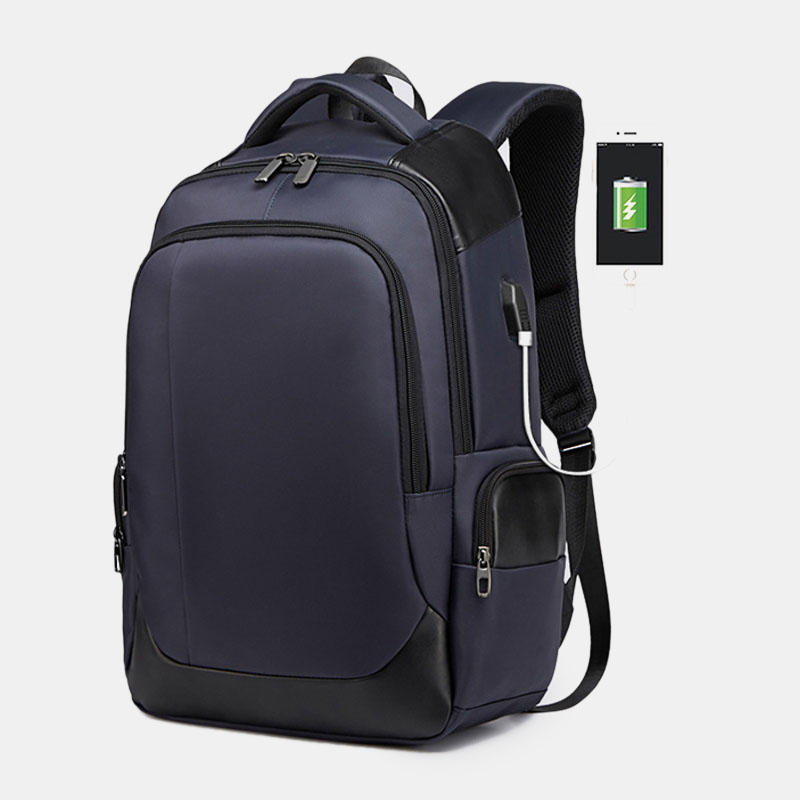Men Large Capacity Nylon Fashion Casual Backpack With USB Charging Port For Travel Outdoor