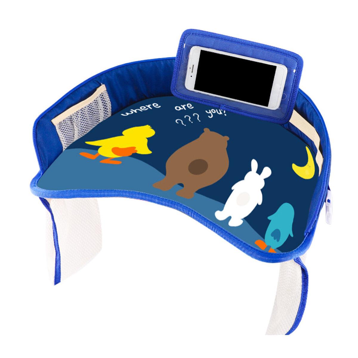 Multifunctionele Draagbare Cartoon Baby Kind Autostoeltje Tafel Lade Gsm-houder Kinderen Speelgoed Eten Drinken Tafel