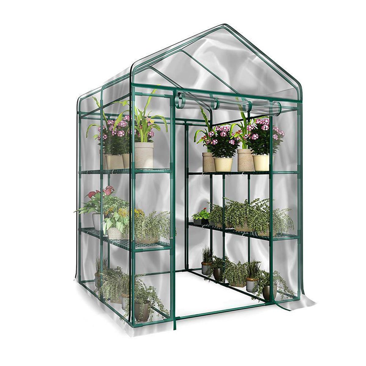 3-Tier Portable Greenhouse 6 Shelves PVC Cover Garden Cover Plants Flower House 143X143X195cm