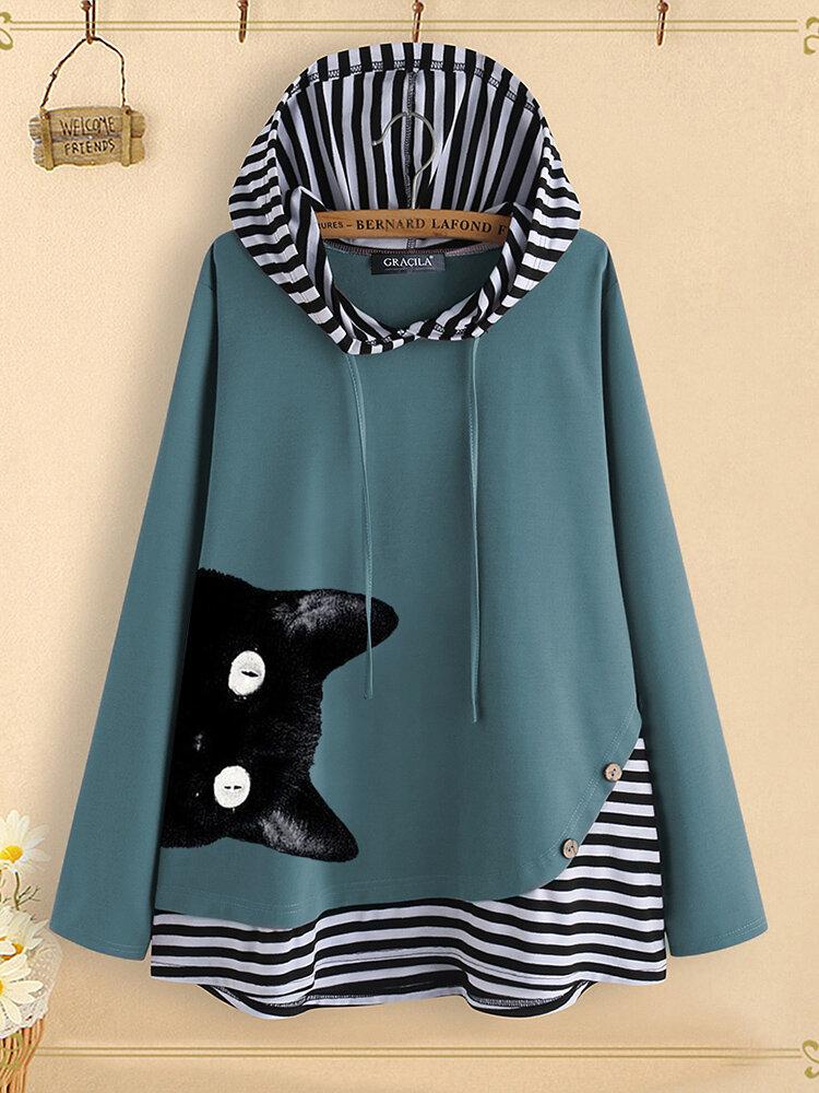 Cat Cartoon Print Stripe Patchwork Long Sleeve Hoodie Sweatshirt For Women