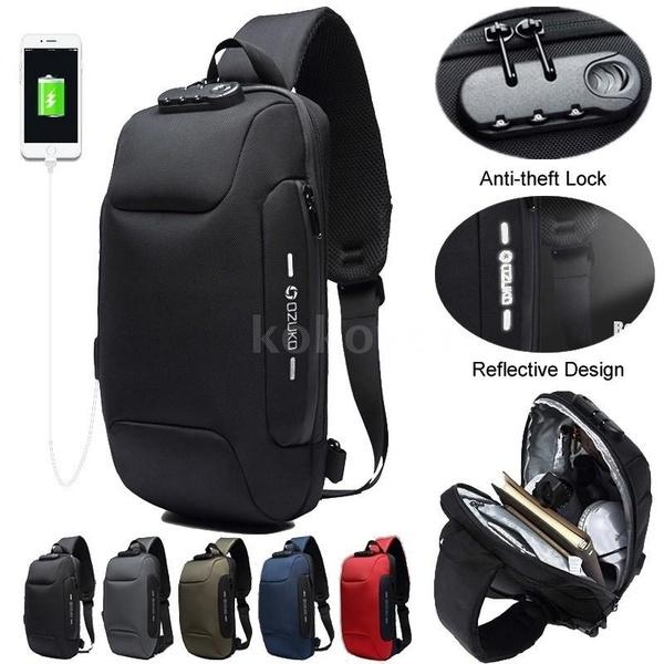 Men Outdoor USB Anti-thfet Multifunctional Large Capacity Waterproof Chest Bag