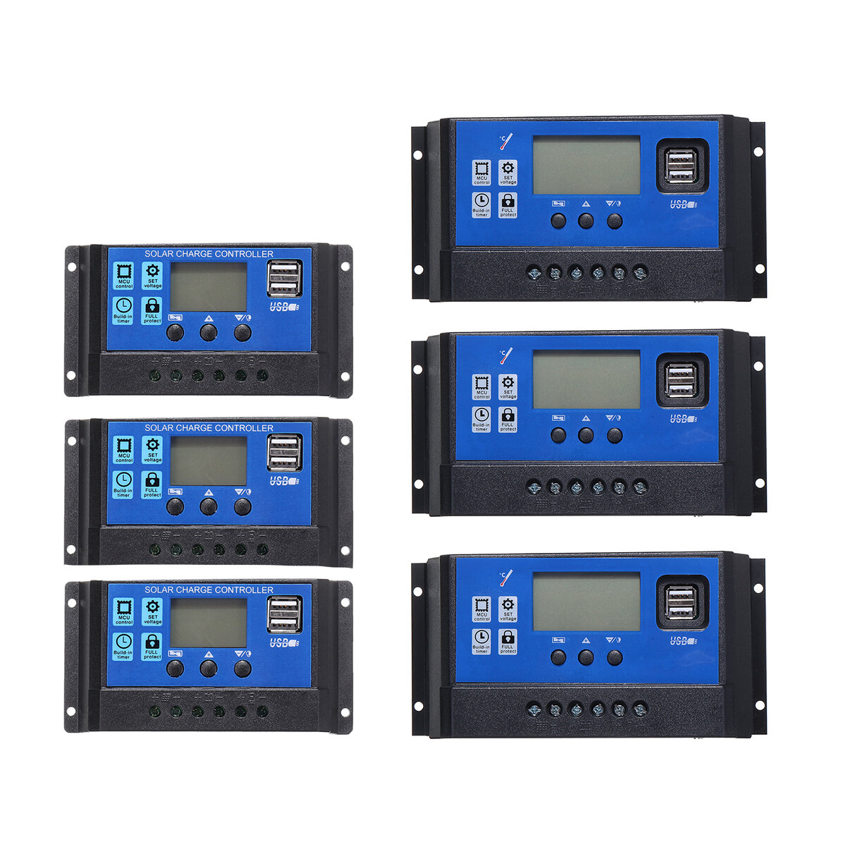 10A-60A 12V/24V Solar Panel Charger Controller Battery Regulator Dual USB LCD Display Solar Charge Controller