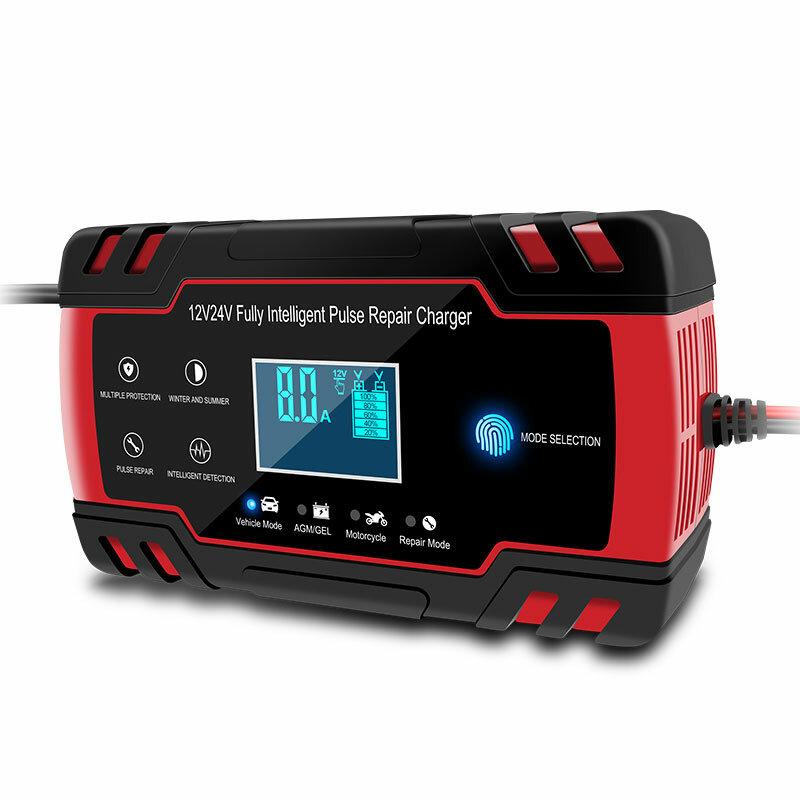 Enusic ™ 12/24 V 8A Kırmızı Dokunmatik Ekran Darbe Onarım LCD Batarya Şarj Için Araba Motosiklet Kurşun Asit Batarya Agm Jel Islak