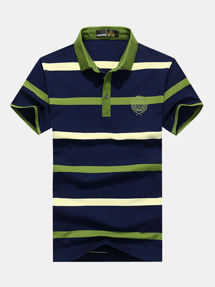 Mens Business Striped Printed Turn-down Collar Golf Shirt Short Sleeve Casual Cotton Tops