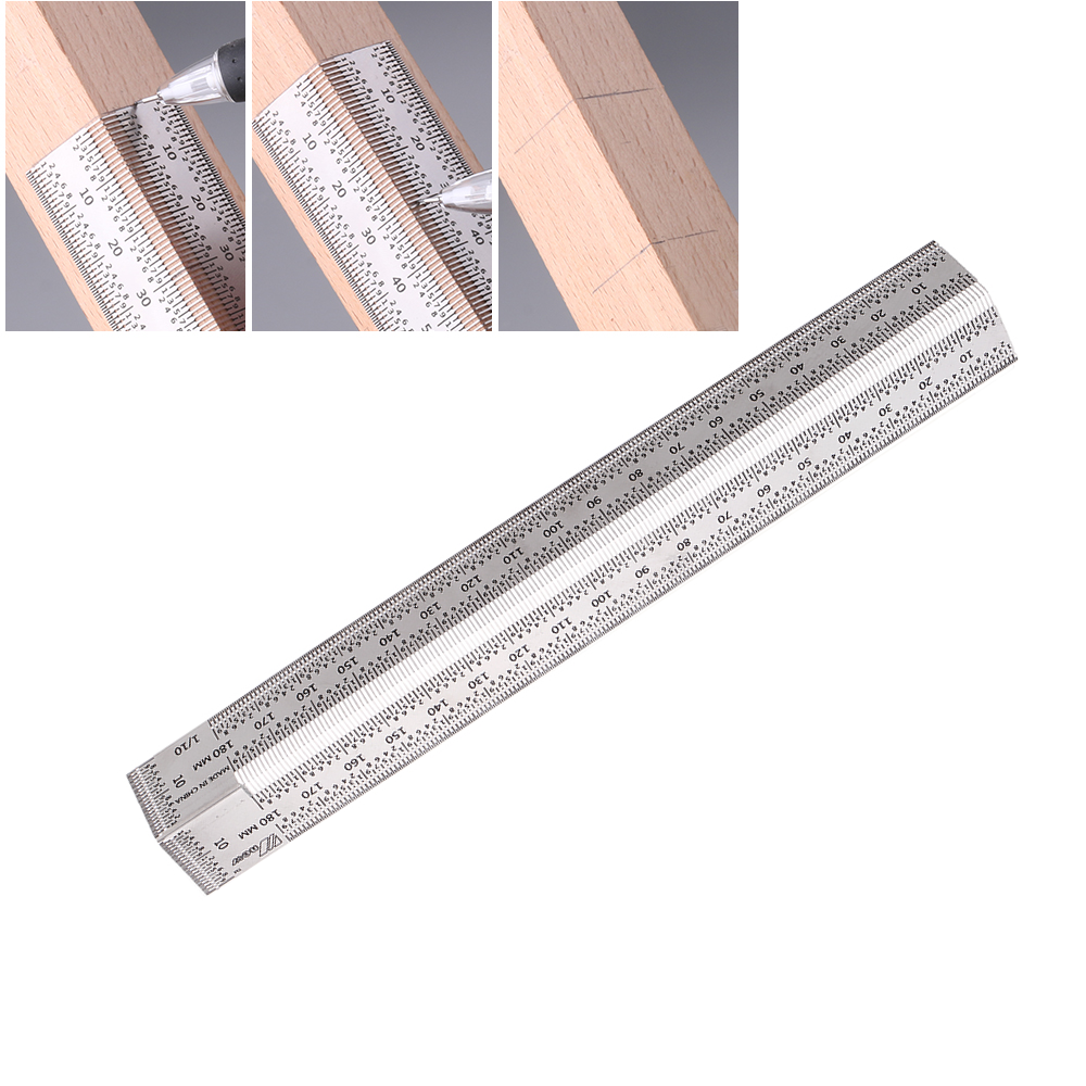 Drillpro 180mm Stainless Steel Precision Bend Ruler Woodworking 90 Degree Square Marking Ruler Carpenter Hole Positioning Line Scribing Tool