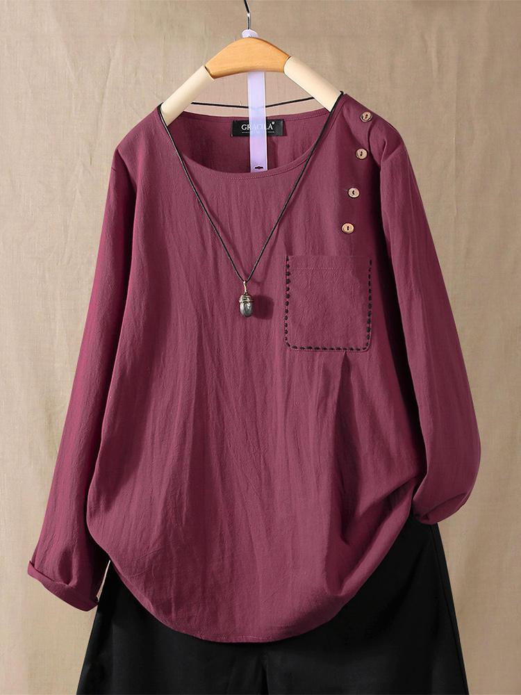 Blusa de manga comprida com botão de cor sólida e bolso
