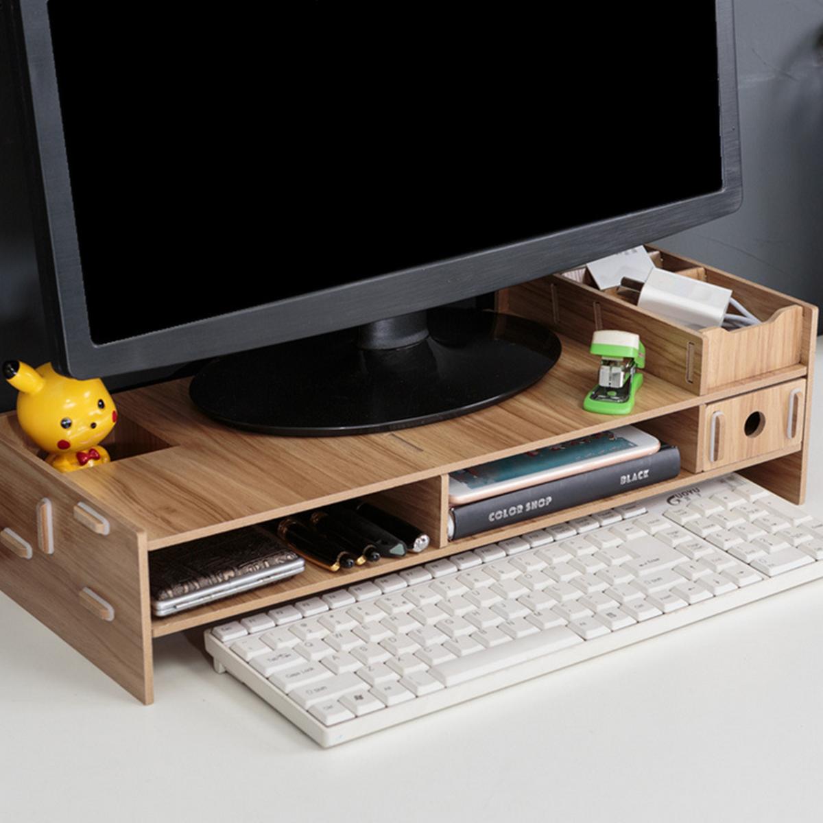 Supporto per monitor in legno Supporto da tavolo per scrivania Supporto per laptop Schermo per computer Supporto da tavolo Supporto per riser per PC Organizzatore