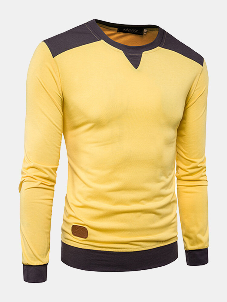 Mens Stylish Hit Color Shoulder Stitching Casual T-shirt O-neck Long Sleeve Cotton Tops Tees