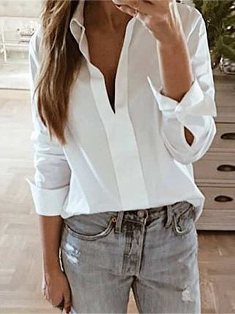 Ladies Solid Color Office Shirt Loose Long Sleeve Blouse with Button