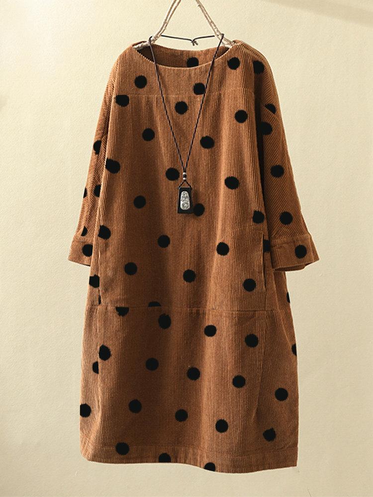 女性ビンテージプリント水玉長袖ポケットコーデュロイドレス
