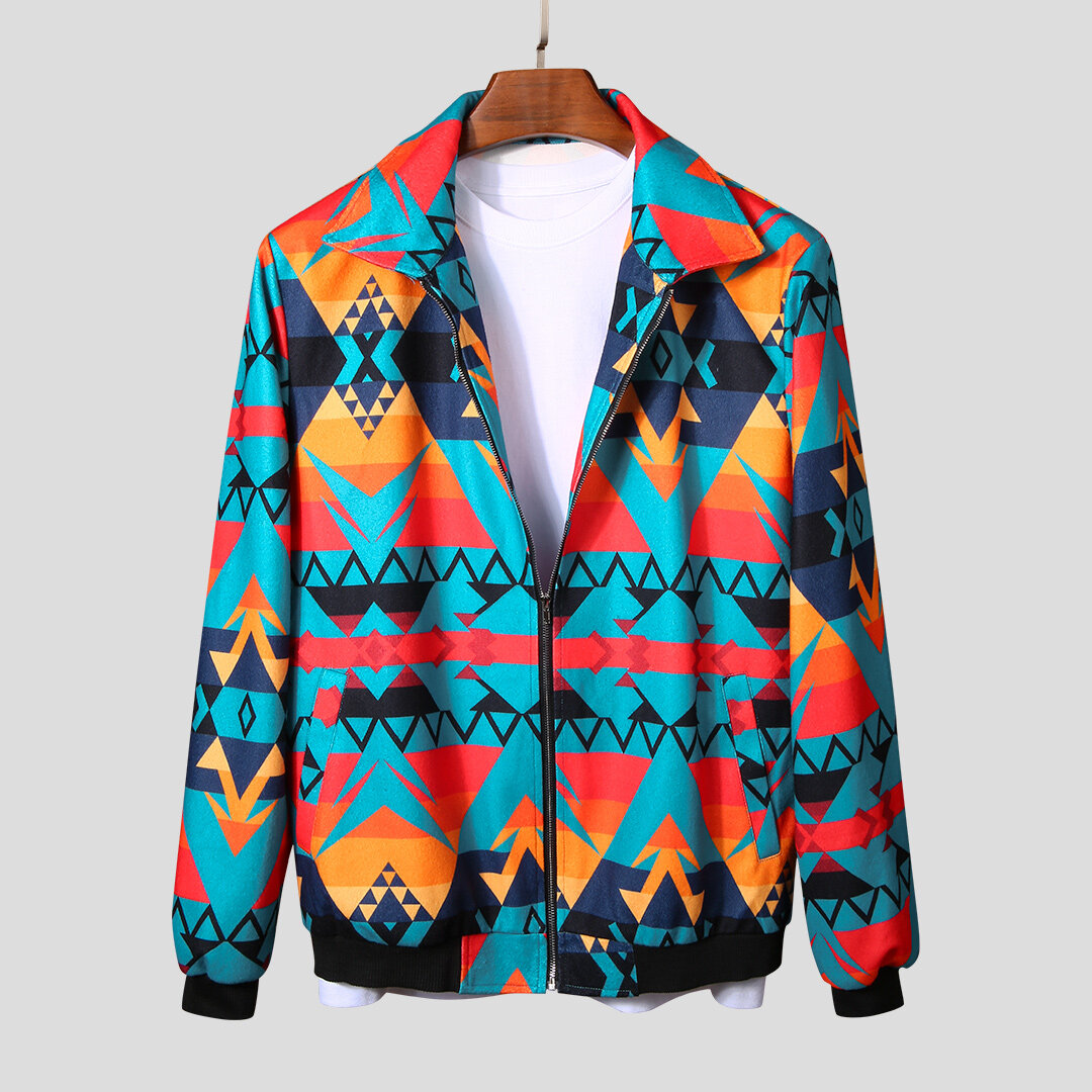 Mens Autumn Colorful Printing Zipper Long Sleeve Casual Jacket