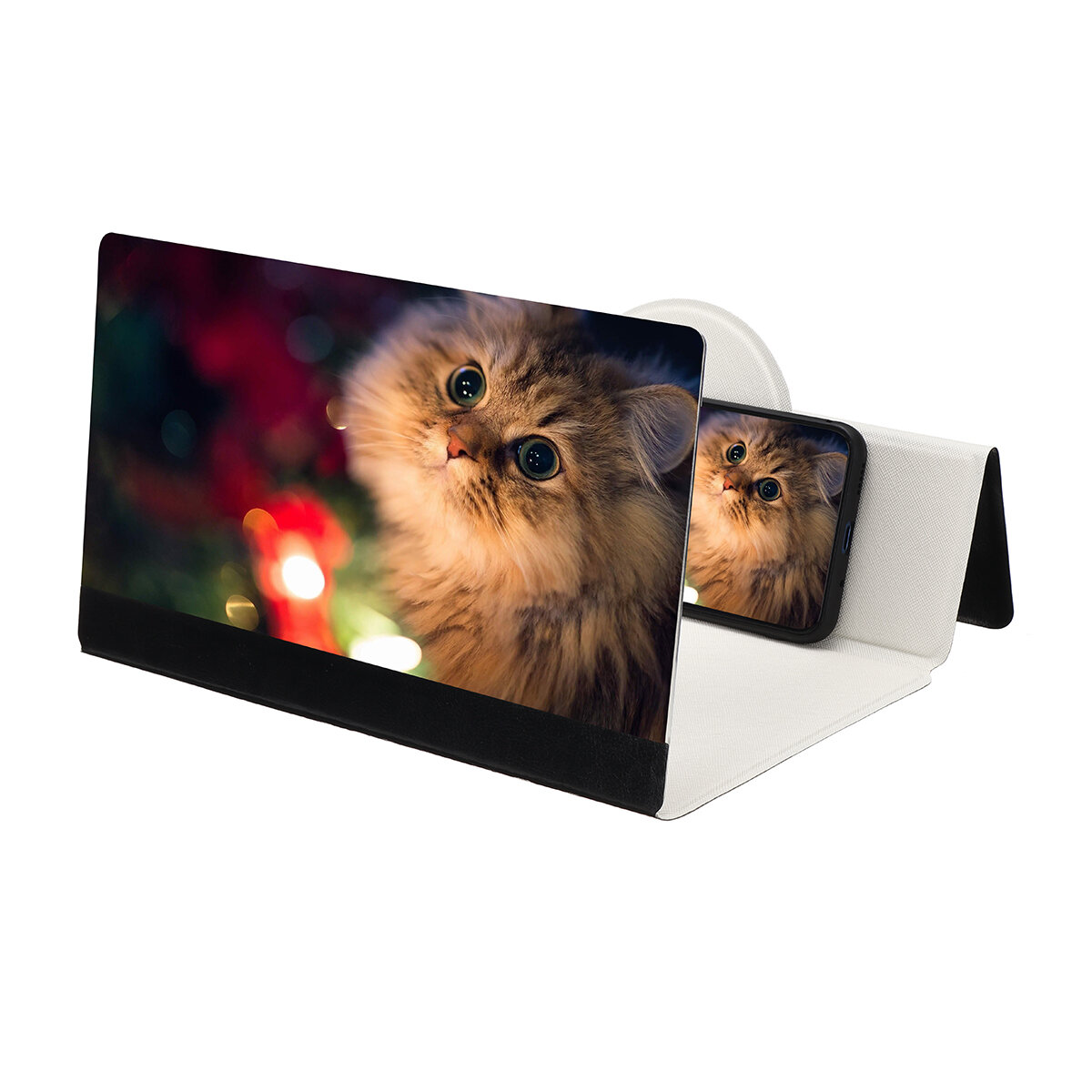 12 Inches Foldable 3D HD Phone Screen Magnifier Movie Video Amplifier PU Leather Cover For Smart Phones iPhone Samsung