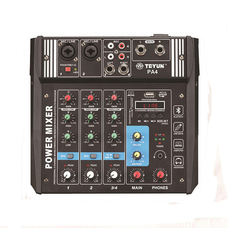 TEYUN PA4 4 Channel Audio Mixer Mixing Console with Built-in 2x100W Amplifier for DJ KTV Karaoke Stage