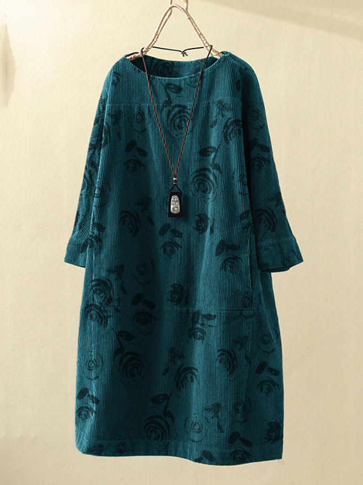Vintage Corduroy Flower Print Casual Dress with Pockets
