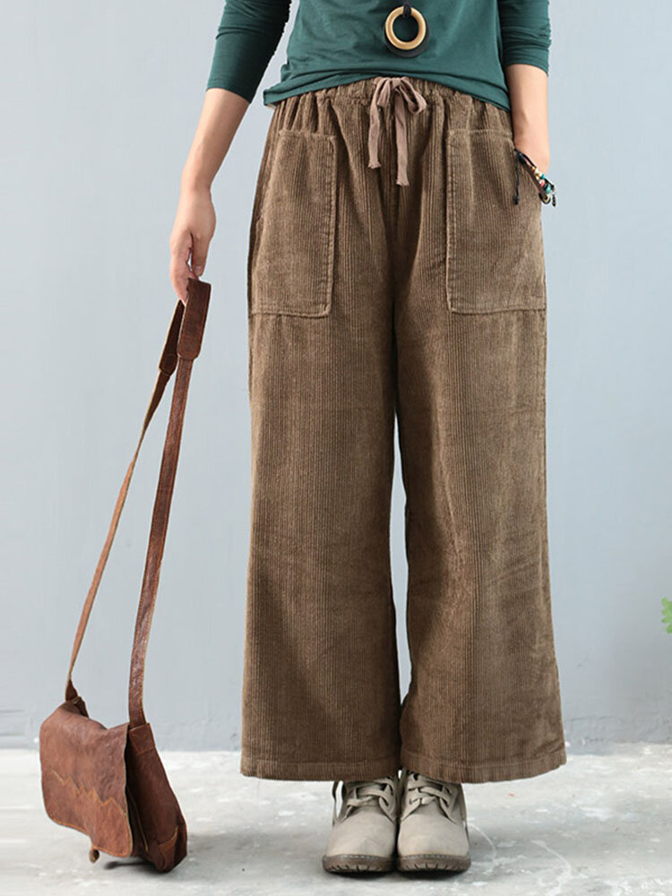 Plus Size Women Vintage Corduroy Trousers Muti-pockets Elastic Waist Wide Leg Pants