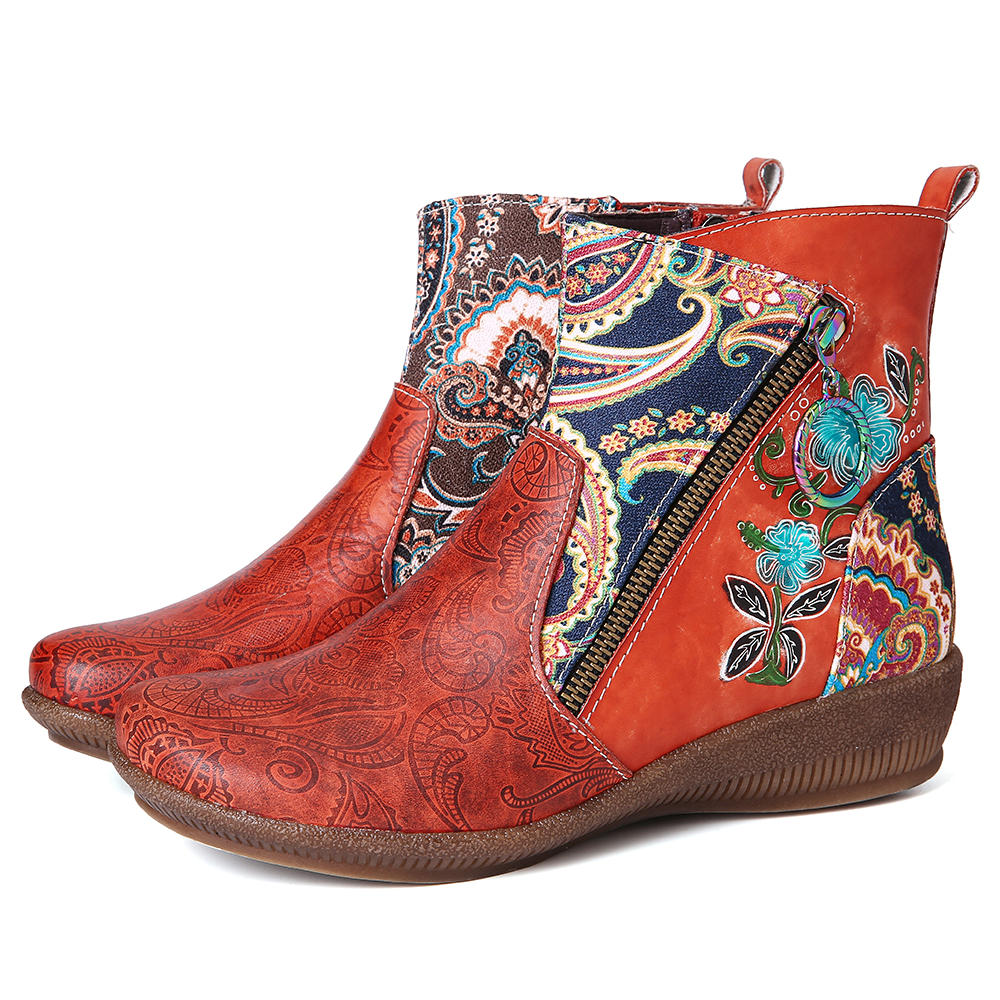 SOCOFY Flower Pattern Genuine Leather Comfortable Short Ankle Boots